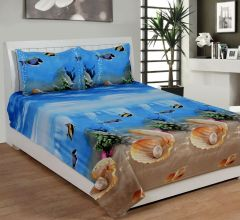 Trendz Exclucive 5d Cotton Double Bedsheet With 2 Pillow Covers - (code -vi1907)