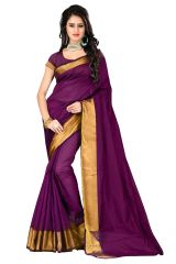 Silk Sarees - AAR VEE Magenta Banglori Silk Saree With Unstiched Blouse BSM03