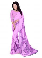 AAR VEE Light Purple Color Marble Chiffon Digital Printed Saree With Unstitched Blouse VRD06