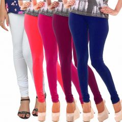 Vivan Creation Women Stylish Colorful Comfortable 5 Pc Cotton Churidaar Leggings Set  (Product Code - DL5COMB724)