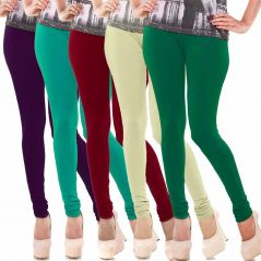 Vivan Creation Women Stylish Colorful Comfortable 5 Pc Cotton Churidaar Leggings Set  (Product Code - DL5COMB727)