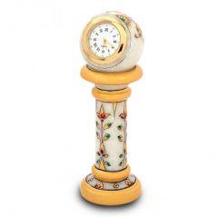 Vivan Creation Ethnic Design Marble Table Clock Handicraft -145
