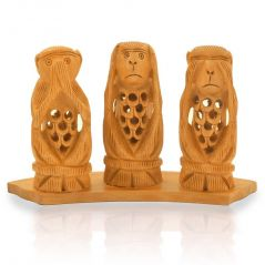 Vivan Creation Gandhi Monkey Set Fine Carved Wood Handicraft -158