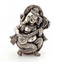 Vivan Creation Oxidized White Metal Lord Ganesha Sitar Idol 312
