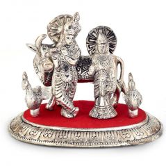 Vivan Creation White Metal Lord Radha Krishna Idol with Cow 315