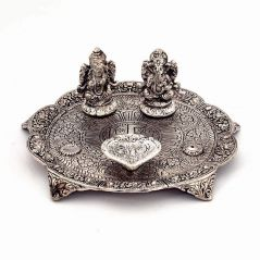 Vivan Creation White Metal Lord Laxmi Ganesh With Dia Thali 317