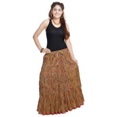 Vivan Creation Shree Mangalam Mart Ethnic Multi Floral Pure Cotton Skirt Free Size (Product Code - SMSKT561)