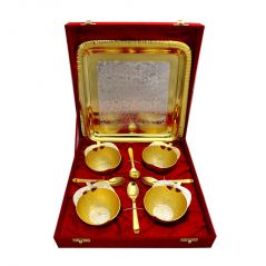 Vivan Creation  Apple Design German Silver 4 Bowl and One tray With 4 Spoon Set (Product Code - SM-HCF543)