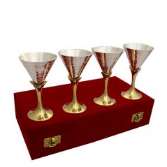 Vivan Creation Wine Glass Set of 4 Made in German Silver (Product Code - SM-HCF546)