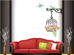Decals Arts Bird Cage Flower Print Wall Sticker