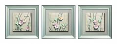 Decals Arts Hand Painted Blue Butterflies On Flowers 3D Embossed Painting
