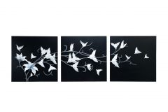 Decals Arts Hand Painted White Birds On A Branch 3D Embossed Painting