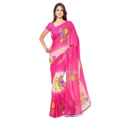 Bhuwal fashion Pink & Cream Color Georgette Printed Formal Saree, 1060_3_A