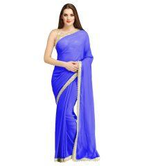 Bhuwal Fashion Blue Faux Chiffon Partywear Gota Patti Saree with blouse pcs BF109-blue
