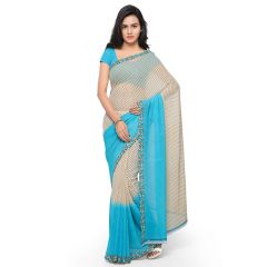 Bhuwal Fashion Off White And Blue Cotton Printed Saree (BFDNA061B)