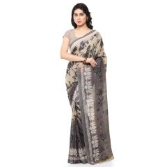 Georgette Sarees - Bhuwal Fashion Grey And Beige Georgette Printed Formal Saree (BFDNA1165A)