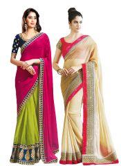 Bhuwal Fashion Multicoloured Chiffon Saree Combos(combo152)