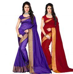 BHuwal Fashion Buy 1 Get 1 Cotton Silk Saree - ( Code -CMB227 )