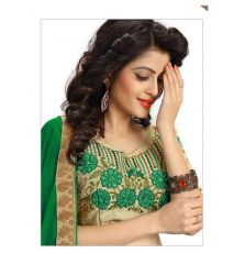 Bhuwal fashion designer Embroidered work green Raw Silk blouses (Unstitched Fabric) YUVIKAGREEN