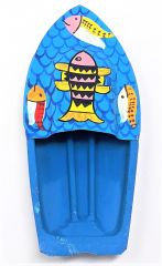 Kuhu Creations Explorer Toy Steam Power Turquois Blue Fish Steam Tin Ship ( Code - Bluefish-01 )