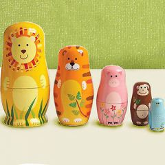 Set Of 5 Cute Wooden Nesting Matryoshka Animal Russian Doll Home Decoration