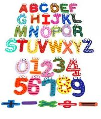 Fridge Magnet Wooden 41 Stickers Alphabets Numbers And Symbols In Vibrant C