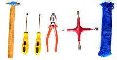 Hand Tools - Hammer Screw driver Plier Spanner 4 Wheel Nylon Rope (Hardware Set)