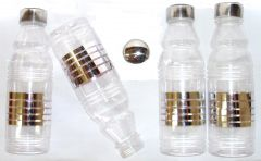 Fridge Water Bottle with Elegant Metal Finish (Set of 4 Pcs)