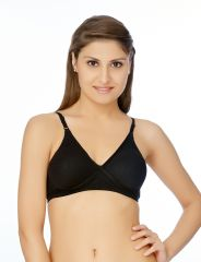 V Star Moulded Black Color Bra With Supportive Cross Band - Salwar Kameez