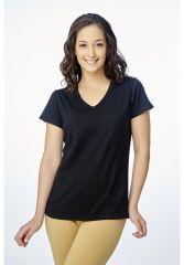V Star Womens T Shirt Vlt 1451 Black ( V-Neck Half Sleeve Womens Tee)