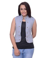 Snoby Light Grey Half Fleece Jacket (SBY11020)