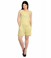 Jumpsuits - Snoby Shirt Waist Rayon Yellow Printed Romper (SBY3002)