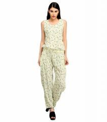 Snoby Neat Overall Rayon Cream Jump Suit (SBY3004)