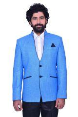Snoby Light Blue towel jute Blazer(SBY9011)