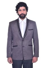 Blazers & Suits (Men's) - Snoby Grey heavy jute Blazer (SBY9016)