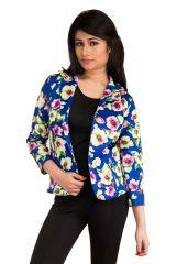 Snoby Blue floral print Blazer (SET_1006)