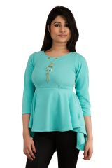 Tops & Tunics - Snoby Sky Blue frockstyle with pendant design Top (SET_2013)