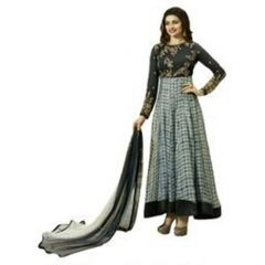 Fashionuma Indian Stylish Designer Bollywood Replica Gerogette Embroidered Anarkali Salwar Suit F1022