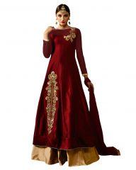 Fashionuma Designer Embroidered Taffeta Anarkali Semi Stitched Indowestern Suit BIPO-56