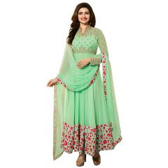 Fashionuma Indian Stylish Designer Bollywood Replica Gerogette Embroidered Anarkali Salwar Suit F1023