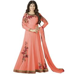 Fashionuma Ethnic Bollywood Replica New Designer Embroidered Gerorgette Anarkali Salwar Suit F1073