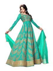 Fashionuma Bolywood Designer Latest Turquoise Embroidered Anarkali Salwar Suit F1116