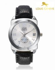 Louis Geneve Men's Watches   Round Dial   Leather Belt   Analog - Louis Geneve  Silver Genuine Leather watch for men_(Product Code)_LG-MW-GBLACK-021