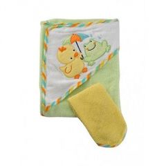 Baby bath & skin essentails - Towel - Hooded Cotton Towel with Napkin (Green &Yellow) Mee Mee (0 Month )