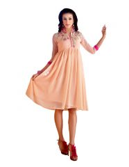 Vbuyz Light Pink Coloured Faux Georgette Embroidered Party Wear Kurti-FI-001
