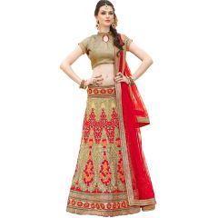 Vbuyz New Stylist Look Designer Embroidered Golden And Red Net Lehenga Choli-TS-90004