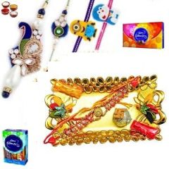 Rakhi to india - White Pearls and Zardosi work Family Rakhi set with Beautiful Crafted Pooja Thali - ( Product Code - JSS146 )