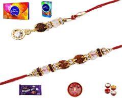 Rakhi online-Pearl & Rudraksha Style Bhaiya Bhabhi Rakhi Set (Product Code - MO14003)