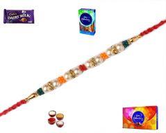 Rakhi Gifts to India-Beautiful Pearl and Stone Rakhi (Product Code - MO4808)