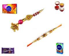 Rakhi Online-Stylish Gold Pearl & Stone Bhaiya Bhabhi Rakhi set (Product Code - SA005BB)